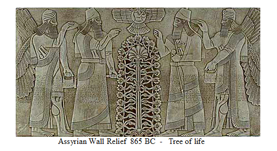 Sýrsky Strom Života. Nad ním sú slnečné krídla, reprezentujúce Slnko.