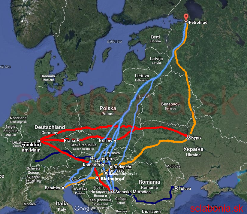 Optimálne trasy, celkový pohľad. Červenou sú trasy západ-východ, modrou juh-sever, oranžovovu juh-východ.