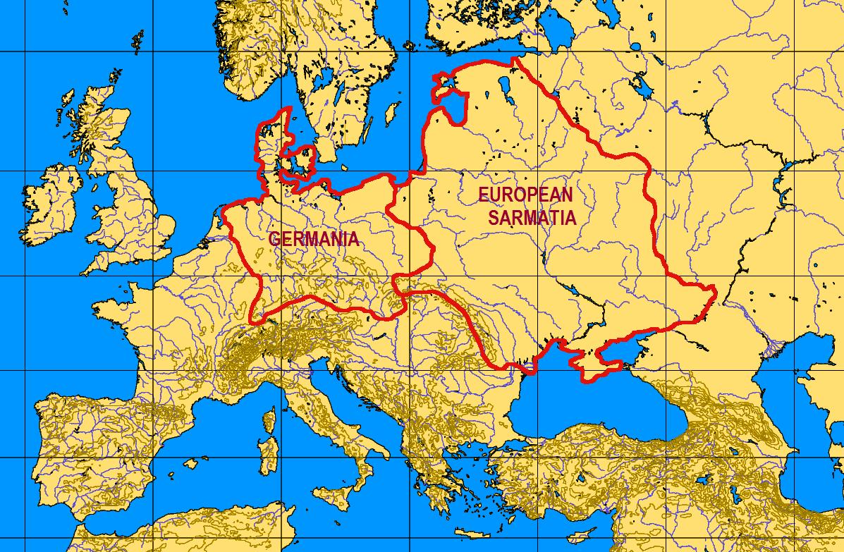 Hranice dávnej Veľkej Germánie a Sarmatie. Od pomenovania Hronu máme pravdepodobne aj slovo hranica.