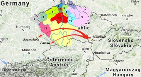 Nesprávne predpokladaná trasa pochodu (návratu) franskej armády z južnej Moravy.