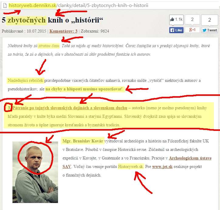 Archeológov článok na pravicovom webovom portáli.