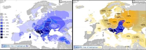 Rozšírenie haploskupiny I2a1(vľavo) a oblasť kde sa haploskupina I2a1 vyskytuje u viac ako 30% mužov prenesená na mapu R1a haploskupiny. Červená bodka vaznačuje oblasť Pripjate.