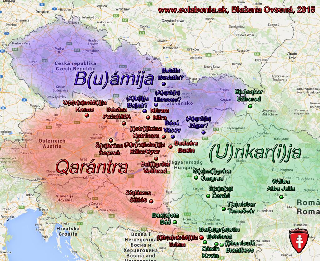 Mapa stredovekých štátov  podľa arabského autora Al-Adrísího. Všimnite si, že Slovensko vtedy podľa neho siahalo asi viac na juh ako dnes. Navyše západoslovenský kraj patril do štátu Karantánia. Dávne Slovensko kopírovalo hranice pásu lesa. Rovnakú hranicu kopíroval aj Val Obrov. Uhorsko bolo kedysi omnoho menšie ako dnešné Maďarsko.