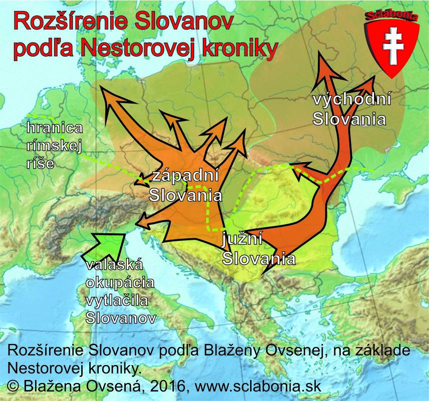 Šírenie Slovanov z pravlasti podľa Blaženy Ovsenej, ktorá vychádzala z popisu v Netorovej kronike.