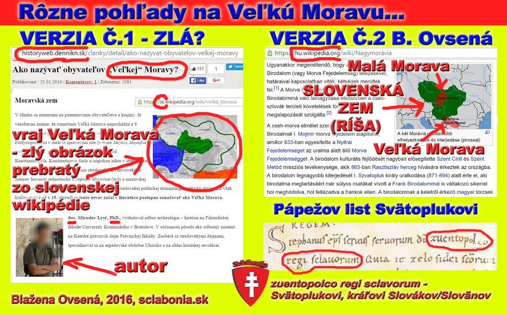 Na tomto obrázku možno vidieť teóriu o vymyslenej Veľkej Morave, ktorú razí oficiálna slovenská historiografia, a inú teóriu, ktorá poskytuje logické vysvetlenie názvu Veľká Morava v kontexte k Svätoplukovmu Slovenskému kráľovstvu. Veľká Morava nebola ríša Svätoplukova, ale jedna zo zemí, ktorým vládol kráľ Svätopluk. Navyše bola nepokrstená, kým zem Rastislava, Svätopluka a Koceľa - Slovenská zem - už pokrstená bola.
