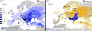 """Zobrazenie rozloženia """"chorvátskych"""" ilýrskych génov po Európe. Vidíme, kde žili Bieli Chorváti (na severovýchod od Karpát), ktorí so svojimi južnými susedmi asi udržiavali žive kontakty."""