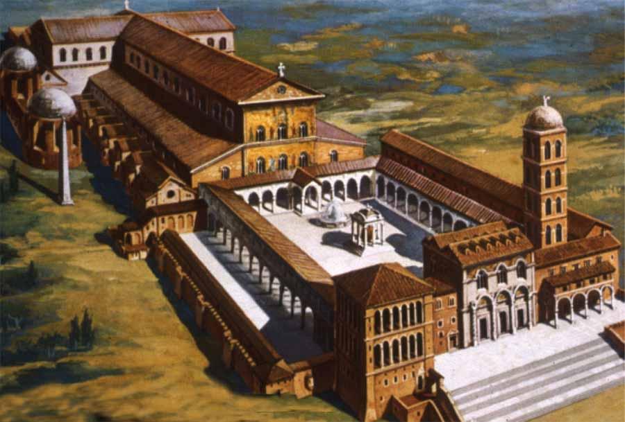 Ako mohla bazilika vyzerať v realite? Tu je príklad starej Svätopeterskej baziliky vo Vatikáne. Zdroj: apuntes.santanderlasalle.es