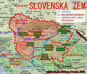 Možná lokalizácia miest Slovenskej zeme.